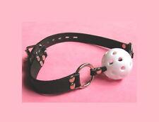 White Breathable dribbler ball gag! Leather Adjustable, Sissy Maid,, Fetish,UK