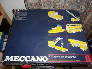 Meccano English Blue & Yellow Set 8 - Complete With Box & Instructions