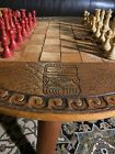 Antique Chess table   Wood And Leather Unique Design Crafted In Philippines