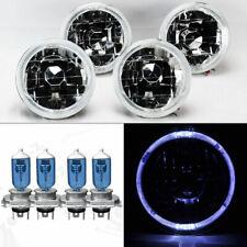 """FOUR 5.75"""" 5 3/4 Round Clear Glass White Halo Headlights w/ Bulbs Set Pontiac"""