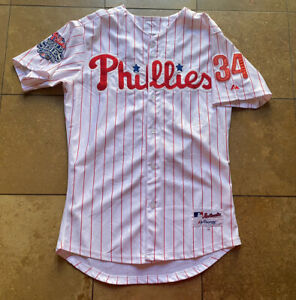2008 World Series Philadelphia Phillies Cliff Lee  Majestic Authentic Jersey 48