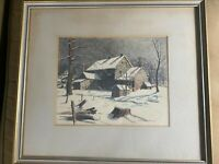 "Ralph D Dunkelberger (1884 -1965) ""Farmhouse In Winter Scene"" Lithograph -Framed"