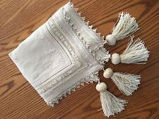 """Antique HAND EMBROIDERED Table Linen CLOTH Tassels Drawn work Inserts """"Semper"""""""