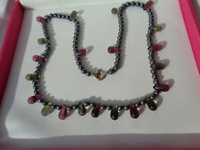 & Amethyst Glass Droplet Necklace Lovely Vintage 1930'S/40'S Polish Hematite