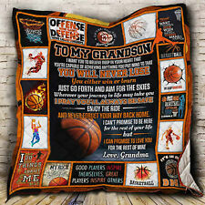 To My Grandson Quilt Blanket, Basketball Lover Gift, Basketball Player Gift