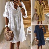 ZANZEA Women V Neck Mini Dress Ruffled Sleeve Long Tops Shirt Smock Dresses Plus
