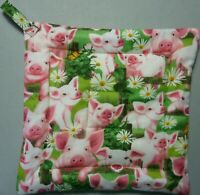 SHEEP AND COWS ON HILLSIDE// White// Green Quilted Potholder Deluxe Hot Pad