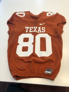 GAME WORN USED TEXAS LONGHORNS FOOTBALL JERSEY SIZE 42 #80