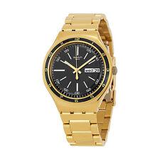 Swatch Irony Black Dial Gold-tone Stainless Steel Bracelet Unisex Watch YGG705G