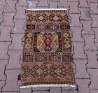 Cappadocia Embroidered Kilim Rug Turkish Vintage Tribal Handmade Carpet 2x3 ft