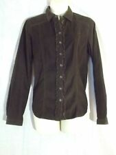 Sz SP Small Petite Eddie Bauer brown corduroy ruffled top shirt 100% cotton