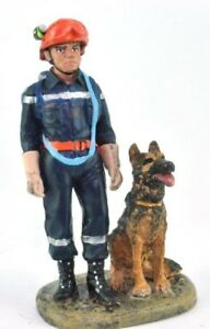 Firefighter Figurine Fireman And Rescue Dog France 2002 Metal Del Prado 1/32