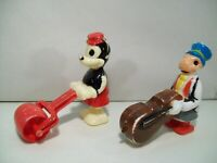 2 VINTAGE WALT DISNEY RAMP WALKER FIGURES MICKEY MOUSE JIMINY CRICKET CELLO