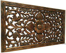 """Tropical Wood Carved Wall Decor Panel. Floral Wood Wall Art. 24""""x13.5"""""""