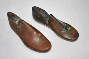 Pair of Vintage Child's Shoe Forms Chris Cross Art Cooperative Folk Art