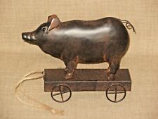 NEW Cute All Metal Pig on Wheeled Cart Pull Toy Inspired Figurine Rustic Brown