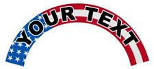 Custom Printed Text on American Flag Helmet Crescent Reflective Decal Sticker