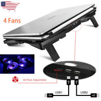 "15.6""-17"" Laptop USB Red LED 4 Fan Notebook Cooling Cooler Adjustable Stand Pad"