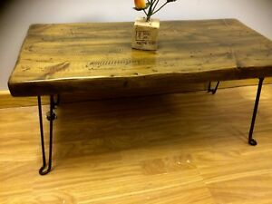 Hand Made Solid Pine coffee table Rustic ,Vintage , wood Folding Legs
