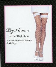 Leg Ave 9014 Women Thigh Hi Fence Net Fishnet Stockings Reg White Black Pink Red