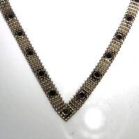 Vintage Sterling Silver Wishbone Garnet Chainmail Necklace