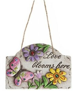 Love Blooms Here Cement Hanging Wall Plaque Garden Sign Present Mum Mothers Day
