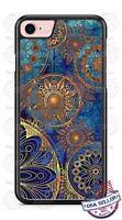 Mandala Art Blue Gold Pattern Design Phone Case for iPhone Samsung Google LG etc
