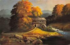 Rarität alte Litho Künstler AK G. Fiebiger Landschaft mit Mühle am Bach Bäume