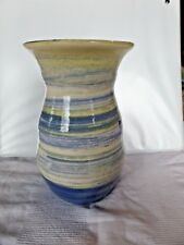 """Mexican Pottery Folk Art Southwest Hand Painted Blue and Beige swirl Vase 6"""""""