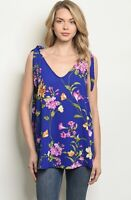 NWT Women's Small Blue Floral Tank Top Blouse Spring Summer BOUTIQUE