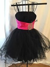 Chicas Short Prom Dress Formal Black Size XS Tulle Princess Hot Pink Sash