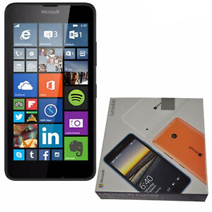 BNIB Microsoft Lumia 640 Dual-SIM Black 8GB Factory Unlocked 3G 2G OEM Boxed New