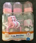 Baby Girl 9oz Bottle Set Of 3 With Bonus Keys Silicone Nipples BPA Free Med Flow