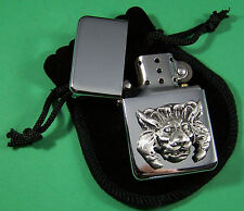 GOTHIC LION HEAD Petrol Lighter in Pouch Free UK Post Animals, Nature, Wildlife