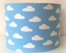 Blue And White Cloud Lampshade Handmade In 25cm Drum, Babies Nursery, Bedroom