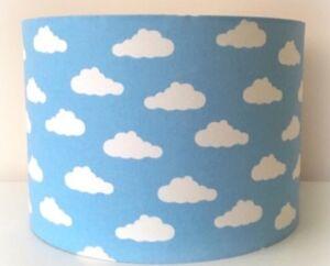 Blue And White Cloud Lampshade Handmade In 20cm Drum, Babies Nursery, Bedroom