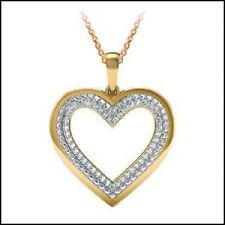 Real Diamond Heart Necklace, 55 Diamond Gemstones, Gold/Sterling Silver, 18""