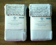 Shabby Chic Pillowcases - Phantom Blue - Linen Crochet Lace - King - 4 Cases