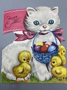 Mid Century Easter Card-1950s - Kitten Cat Basket Of Eggs - Baby Chicks