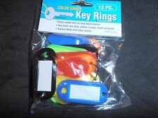 lot of 12 pc color coded key rings Nip Id or luggage tags