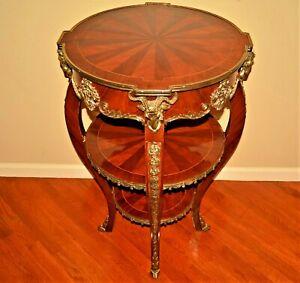 Antique Original Vintage Gilded Silver Bronze Inlaid Banded Revival Tier Table