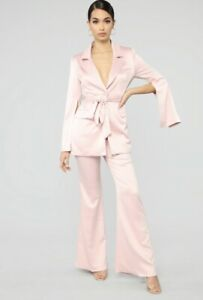 Fashion Nova Women's Sassy Satin Suit Set Split Sleeves Blush Pink Large