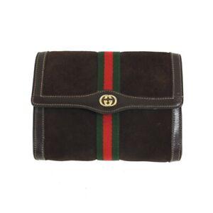 Vintage Gucci MM Suede Brown Ribbon Clutch Bag.NFV6624