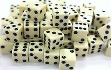"WHOLESALE LOT OF 50 IVORY DICE BLACK PIPS 6 SIDED D6 DIE GAME SIX 5/8"" 16mm"