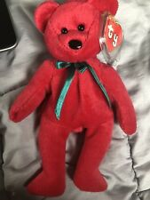 TY RARE New Face (NF) Cranberry Teddy Beanie Baby 2nd Gen Hang/1st Gen Tush Tag