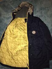 Mens Bench Blue Parka Jacket Fur Fleece Lined Hood Large