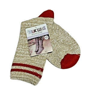 Muk Luks boot socks womens one size fits most tan soft comfy holiday gift ready