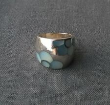 SOLID 925 STERLING SILVER HUGE HEAVY MOTHER PEARL RING SIZE P