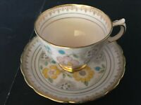BONE CHINA CUP & SAUCER BY TUSCAN 1736H LIGHT PINK GOLD LACE YELLOW FLOWERS