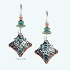 Earth Dreams Silver LEAF on Copper EARRINGS Silver Plated Fall Dangle - Boxed